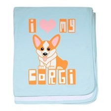 I Love My Corgi baby blanket