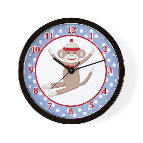 Sock Monkey Wall Clock - Blue/Red