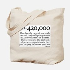420,000 Cat Overpopulation Tote Bag