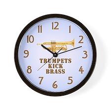 Trumpets Kick Brass Wall Clock