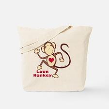 Love Monkey Heart Tote Bag