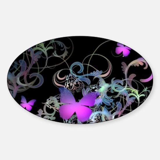 Bright Purple Butterflies Sticker (Oval)