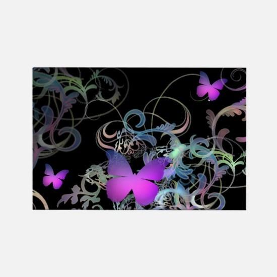Bright Purple Butterflies Rectangle Magnet