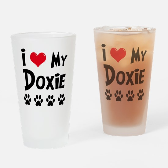 I Love My Doxie Drinking Glass