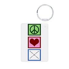 Peace Love Twirl Aluminum Photo Keychain