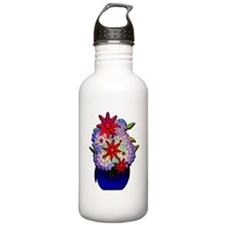 Cobalt Blue Vase with Flowers Sports Water Bottle