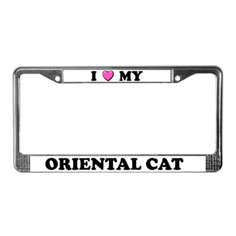 I Heart My Oriental Cat License Plate Frame