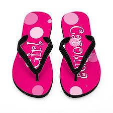 Carolina Girl Pink Polka Flip Flops