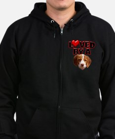 Loved by a Brittany Spaniel Zip Hoodie