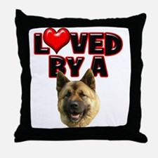 Loved by a Akita Throw Pillow