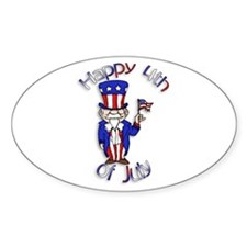 Uncle Sam Happy 4th of July Oval Decal