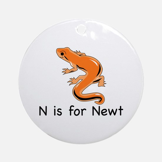 N is for Newt Ornament (Round)