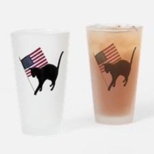 Cat American Flag Drinking Glass