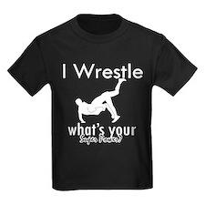 I wrestle kids dark t shirt for for Wrestling tournament t shirt designs
