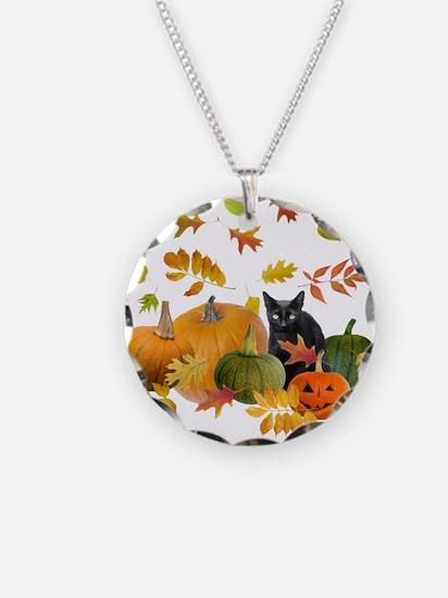Black Cat Pumpkins Necklace