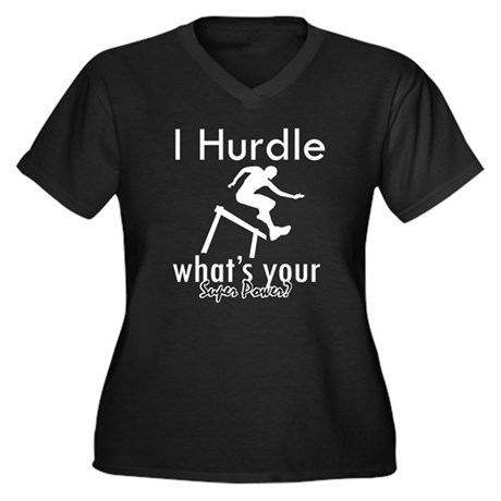 I Hurdle Women's Plus Size V-Neck Dark T-Shirt