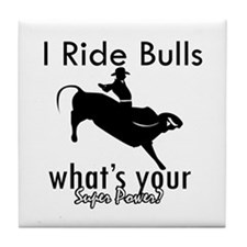 I Ride Bulls Tile Coaster