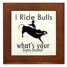 I Ride Bulls Framed Tile