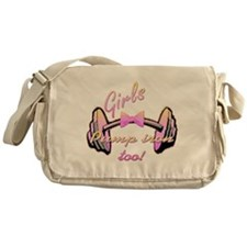 Girls pump iron too! Messenger Bag