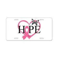 Breast Cancer Heart Decor Aluminum License Plate