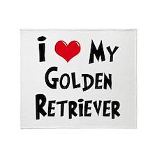 I Love My Golden Retriever Throw Blanket