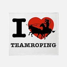 I love Team roping Throw Blanket