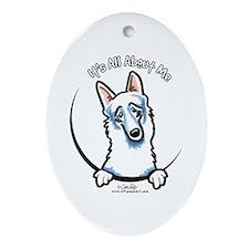 White German Shepherd IAAM Ornament (Oval)