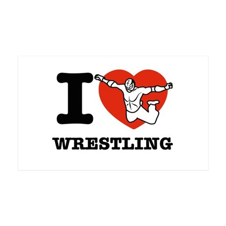 I love Wrestling 38.5 x 24.5 Wall Peel