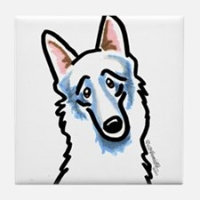 White GSD Face Tile Coaster