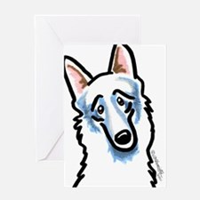White GSD Face Greeting Card
