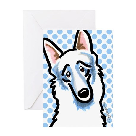 White GSD Blue Dots Greeting Card