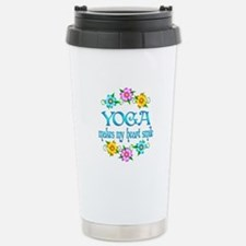 Yoga Smiles Stainless Steel Travel Mug