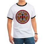 Red and Gold Goddess Pentacle Ringer T