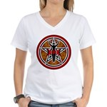 Red and Gold Goddess Pentacle Women's V-Neck T-Shi