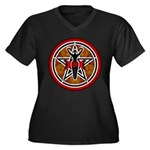 Red and Gold Goddess Pentacle Women's Plus Size V-