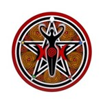Red and Gold Goddess Pentacle Ornament (Round)