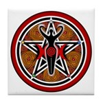 Red and Gold Goddess Pentacle Tile Coaster
