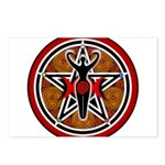 Red and Gold Goddess Pentacle Postcards (Package o