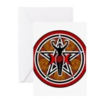 Red and Gold Goddess Pentacle Greeting Cards (Pk o