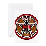 Red and Gold Goddess Pentacle Greeting Card