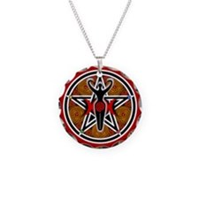 Red and Gold Goddess Pentacle Necklace Circle Char