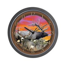 Elk and deer sunset Wall Clock