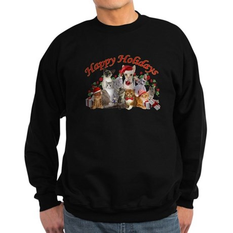 Happy Holiday Cat Designs Sweatshirt (dark)