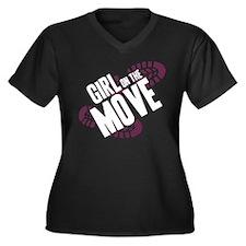 Girl on the Move Women's Plus Size V-Neck Dark T-S