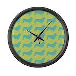Retro Corgi Pattern Large Wall Clock