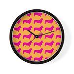 Retro Corgi Pattern Wall Clock