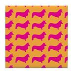 Retro Corgi Pattern Tile Coaster