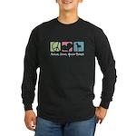 Peace, Love, Great Danes Long Sleeve Dark T-Shirt