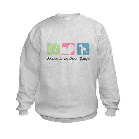 Peace, Love, Great Danes Kids Sweatshirt