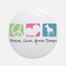 Peace, Love, Great Danes Ornament (Round)